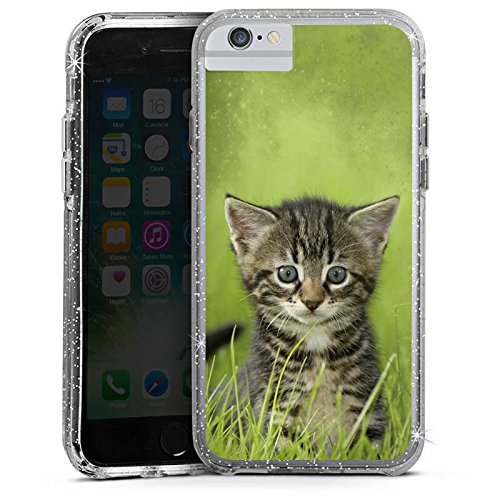 Apple iPhone X Bumper Hülle Bumper Case Glitzer Hülle Kitten Katzenbaby Cat Bumper Case Glitzer silber