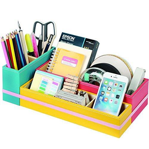JackCubeDesign Leder 6 Fächer Multifunktionale DIY Büro Schreibtisch Organizer Desktop Aufbewahrungskoffer Box, Schreibtischzubehör Schreibwaren Mobile Smart Phone Holder (Blau, Pink, Gelb) -: MK293B -