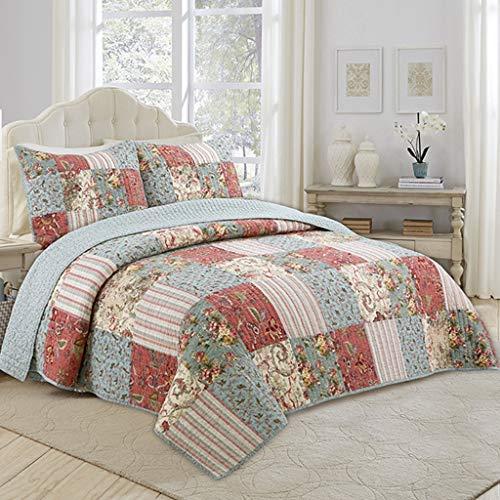 QINJLI Baumwolle Leichte Bettdecke Blätter Reversible Patchwork Quilt Plaid Pattern Hautfreundlich Warm Halten Atmungsaktive Decke Bettwäsche Set 3 stück 230 * 250cm (Color : A) -