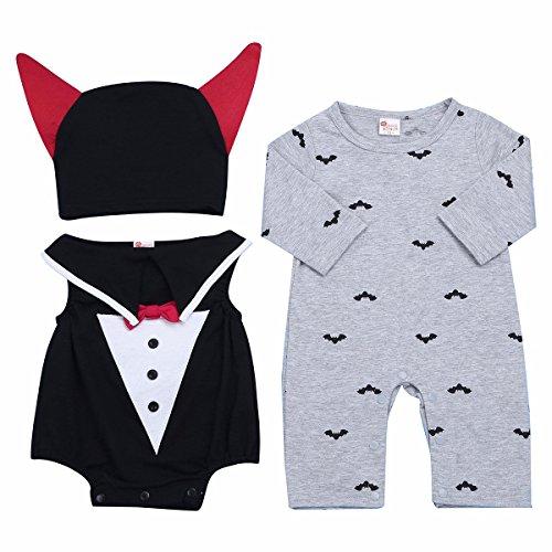iiniim Unisex Neugeborenes Baby Strampler Bodysuit Jumpsuit Halloween Kostüm Outfits Bekleidungsset Gr.62-86 Grau 62-68/3-6 (Unisex Kostüme)
