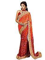 Shonaya Orange & Red Colour Georgette Saree With Unstitched Blouse Piece