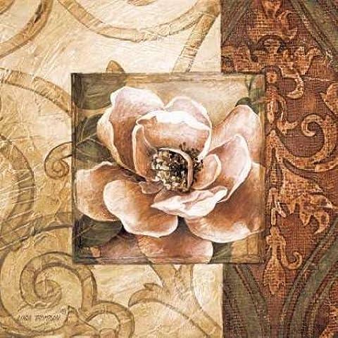 Feelingathome.it, STAMPA SU TELA 100% cotone INTELAIATA Lino Roses II cm 82x82 (dimensioni personalizzabili a