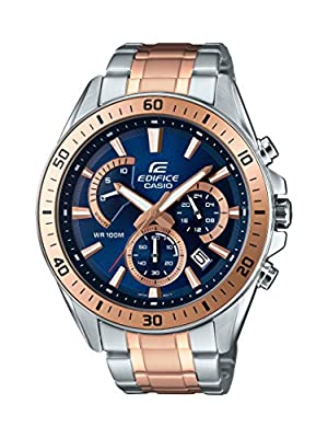 CASIO EDIFICE Men's Quartz Watch with Blue Dial Analogue Display and Silver Stainless Steel Bracelet EFR-552SG-2AVUEF
