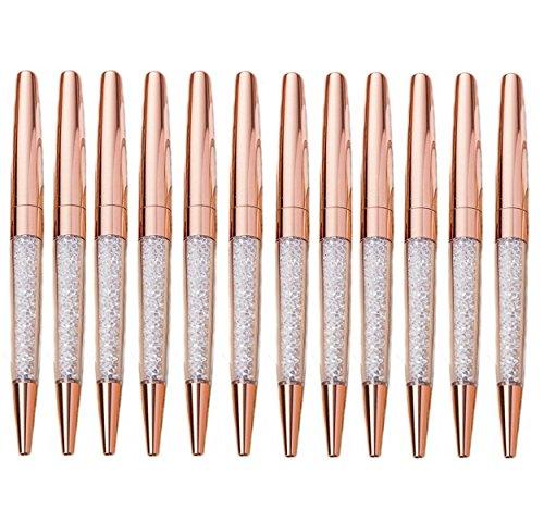 Mengran oro rosa cristallo di diamante penna a sfera penne (confezione da 12) (oro rosa)