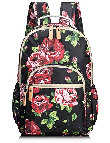 Medium Rucksack Schule (Leaper wasserdichte Leinwand + PVC Schicht Schule Rucksack hübsch floral Laptop Tasche lässig Daypack (schwarz))