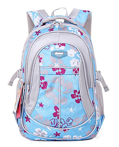 SellerFun® Kid Child Girl Flower Printed Waterproof Backpack School Bag(Blue,Small)