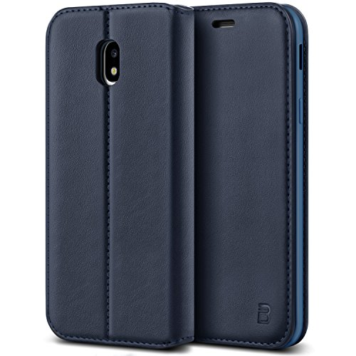 BEZ Funda Samsung J5 2017, Carcasa Compatible para Samsung Galaxy J5 2017, Libro de Cuero con Tapa y Cartera, Cover Protectora con Ranura para Tarjetas y Billetera, Azul