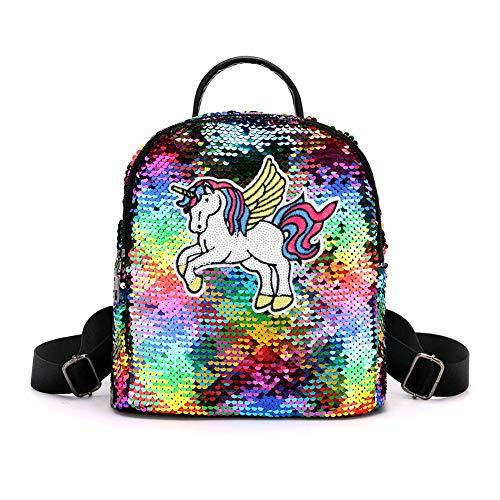 Demiawaking Mini Zaino con Paillettes Zainetto Glitter Carino Bambina Borsa da Viaggio Glitterata Borsa da Scuola per Bambini Ragazze (Multicolore, Pony)