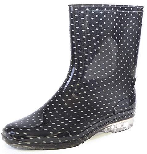 Octave® Ladies Short Black Spot/Polka Dot Print Wellington Boots