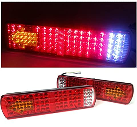 2 X PAIR OF 12V 84 LEDS LED MULTIFUNCTION STOP REVERSE TURN SIGNAL INDICATOR FOG REAR TAIL LIGHTS LAMPS FOR TRUCK TRAILER LORRY SHASSIS TIPPER CARAVAN MOTORHOMES CAMPER