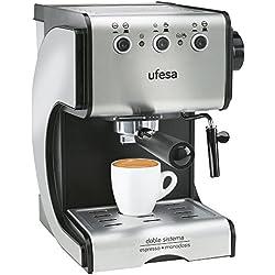 Ufesa CE7141- Cafetera espresso, 1050 W, 2 tazas, capacidad de 1,5 l, color plata y negro