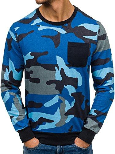 BOLF Herren Sweatshirt Rundhalsausschnitt Pullover sportlicher Stil 1A1 Blau_0741