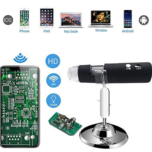 QZY Wifi Wireless Digital Mikroskop 8 LED USB, 50X bis 1000X Vergrößerung Portable mit 2MP Kamera, 1080P HD Mini Tasche Rechargeble Kids Mikroskop Für iPhone/iPad/Android-Handy/Windows/Mac
