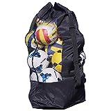 YSXY Übergröße Ballsack Balltasche Ball Bag Wasserdichte Oxford Gewebe Sporttasche für 10-15 Stücke Basketball Fußball Volleyball,Schwarz