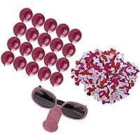 MagiDeal Set Lunettes Zizi Pailleté+ Confettis Table +20pcs Ballon  Décoration Enterrement de Vie Célibataire