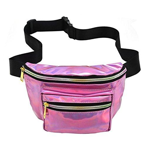 e Sport Hüfttasche Faltbare Hüfttasche Laser Wasserdicht Reflektierende Tasche Mit Verstellbaren Gürtel für Festival Reise Party Taschen Für Konzert oder Rave 1 Stück Rosa ()