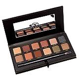 Lorjoy 12 colori di tutti i giorni aspetto naturale occhio ombra palette Pennelli trucco specchio