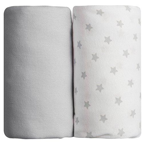 Babycalin Lot de 2 draps housse Gris - 60x120 cm