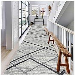 Tapis de couloir Tapis de chemin de roulement pour tapis, long tapis de 6 mm, antidérapant, design moderne, plancher sur mesure, taille personnalisée - DT-888 (Color : Blended, Size : 1.2x4m)