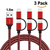 GlobaLink 3 Stück Multi USB Kabel 2 in 1 Kabel mit USB Typ C Kabel und Micro USB Ladekabel Universal Nylon [1,5 m] Lebenslange Garantie für Android und USB Typ C unterstützte Geräte(Schwarzrot)