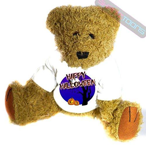 henk Teddy Bär–Gruselige Hexe & Kürbis, Mond Hintergrund Geschenk bedruckt Teddy T Shirt–23cm hoch stehend (Bär Happy Halloween)