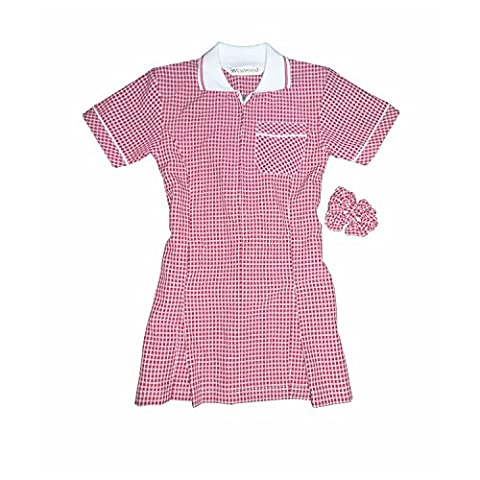 New style Girls Gingham Check School Dress + Free Scrunchie art no 7364 (8 yrs, Red)