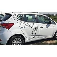 Auto Aufkleber/Seitendekor Set***Pusteblume/Löwenzahn mit Samen und Vögel*** - (Größen und Farbauswahl)