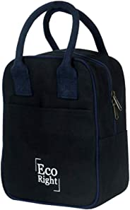 EcoRight Canvas Insulated Lunch Bag for Men Women Kids - 8 * 11 * 4.5 inches Ecofriendly, Reusable & Washable- Black