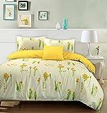 Summer Breeze - Set copri-piumino 100% cotone, fantasia floreale, 100% Cotone, Cream & Yellow, Super King