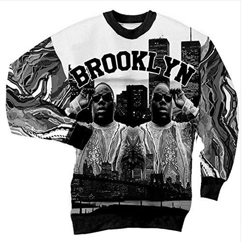 ZGDGG Biggie Unisex Hipster Harajuku Der 90er Jahre Jazz Solo Hip Hop 3D Sweatshirt Hoodie,E,5XL