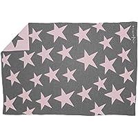 Lorena Canals Alfombra (lana), diseño de estrellas), color gris y rosa oscuro