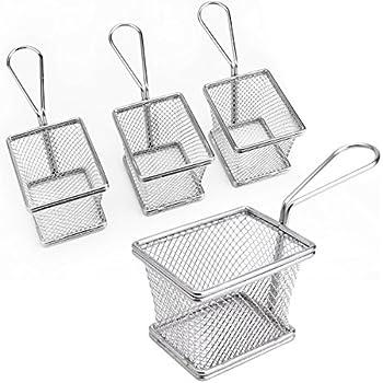 Surepromise 4 x Mini Eckig Frittierkorb Frittier Korb