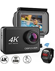 DBPOWER D5 Action Camera 4K 30fps 14MP Ultra HD EIS Sports Cam 2Inch Touchscreen 170 Degree Wide Angle 148ft Waterproof Camcorder with 2.4G Remote Control 2 1100mAh Batteries and Kit of Accessories