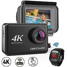 DBPOWER - Action Camera con 4K Nativi ed EIS, Videocamera Impermeabile per Sport con Schermo Touch LCD 2¡±, Wi-Fi, 14MP, Video 4K 30fps, Grandangolare 170¡ã, Telecomando 2,4GHz, 2 Batterie Ricaricabili