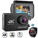 """DBPOWER 4K EIS Action Kamera 2"""" LCD Touchscreen 14 Megapixel WLAN Wasserdichte Sport Kamera mit 4K 30fps Video und 170° Weitwinkelobjektiv 2,4GHz Fernbedienung, 2 aufladbare Batterien"""