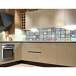 Film adhésif pour crédence de cuisine Motif carreaux azulejos 180x 60cm Film décoratif adhésif de qualité supérieure Protection contre les éclaboussures