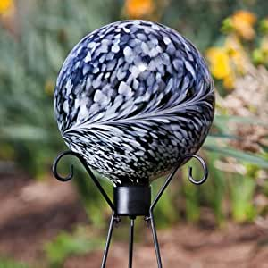 Black And White Swirl Glas Gartenkugel