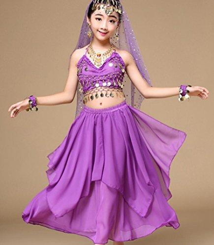 Produktion Tanz Kostüme (Kinder Indische Tanz Performance Kinder Tanz Performance Kleid Mädchen Bauchtanz Turnier Kleid Pink / Gelb / Rot / Blau / Lila (6 Stück) , l ,)
