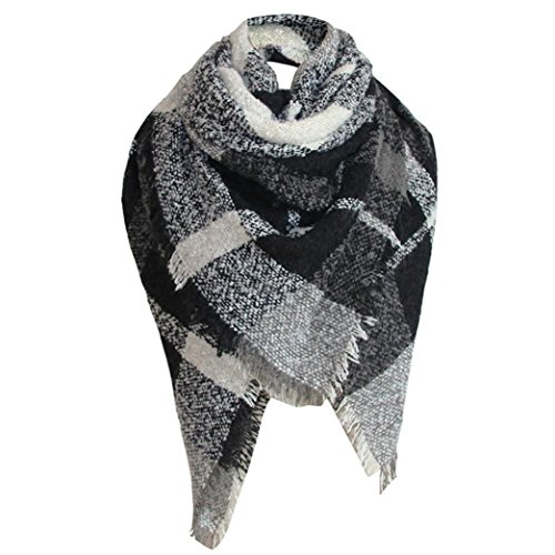 OverDose Damen Schal, Tartan Square Kariert Schal Large Checked Wrap Schal Winter Warm Tücher Schlauchschal