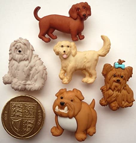 Mixed Dogs - 5 Novelty Craft Buttons & Embellishments by