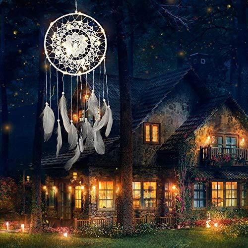 Prevently Dream Catcher,Handgemachte Dreamcatcher Federn Nachtlicht Auto Wandbehang Dekor Zimmer Home Decor für Weihnachten Halloween Dekoration