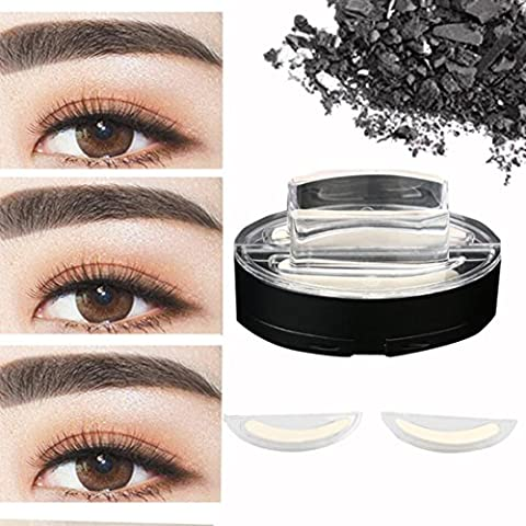Xshuai New Waterproof Natural Eye Brow Stamp Powder Perfect Eyebrow Power Seal Nature Eye Brow Powder Delicate Shape for Beginners (Grey)