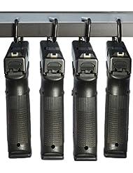 Pistolet boomstick Accessoires boom-10008–cm sous étagère Pistolet en Métal avec Revêtement en vinyle Cintres (Lot de 4)–Noir