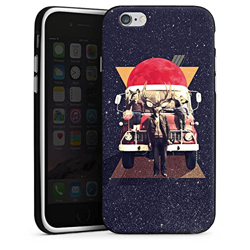 Apple iPhone 6 Housse Étui Silicone Coque Protection Cerf Hipster Chevreuil Housse en silicone noir / blanc
