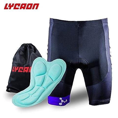 Lycaon Fahrrad-Radhose Gel Gepolsterte Shorts 3D Antibakteriell Coolmax Silica Gel Padding Biker Shorts halbe Hosen für Rennrad Mountainbike MTB Shorts Fahrradbekleidung Männer Frauen (Blau, XXL)