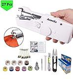 Aoweika Handnähmaschine, Mini Handheld Nähmaschine 27 Pcs Tragbar Elektrische Handnähmaschine Schneller Handlicher Stich für Stoff Kleidung Kindertuch (Heim/Reisenutzung)