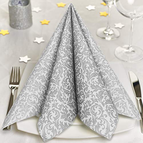 GRUBly Servietten Silber   Stoffähnlich [100 Stück]   Hochwertige Silberne Servietten, Tischdekoration für Weihnachten, Hochzeit, Geburtstag, Feiern   40x40cm   AIRLAID QUALITÄT
