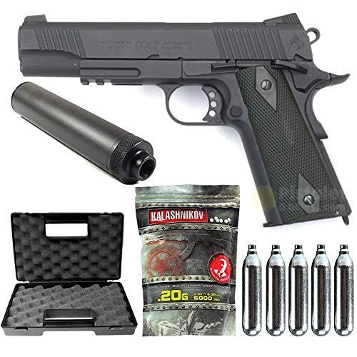 Colt-Pacchetto Completo Con Accessori - Pistola per airsoft, modello 1911 Rail Gun Stainless Black,full metal, scarellante-1 joule, colore nero, semi automatico