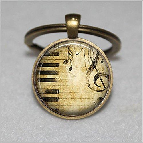 (Tastatur und Treble Cleff Schlüsselanhänger, der Musiker Geschenk, Musiker 's Geschenk  Einzigartige Schlüsselanhänger Key Ring Geschenk  Everyday Schlüsselanhänger Key kette)