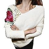 Elecenty Damen Hohl Stricken,Strickwarens Lose Strickpullover Rosen Haken Blumen Frauen Sweater Sweatshirt Blusen Pullover Bluse Hemd Tops Pulli (Freie Größe, Beige)